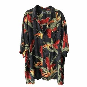 Men's Floral Tropical Print Button Down Top 3XL